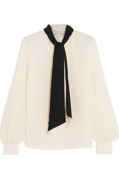 Ivory and black silk crepe de chine  Button fastenings along front 100% silk Dry clean Shell: Vietnam Made in Italy