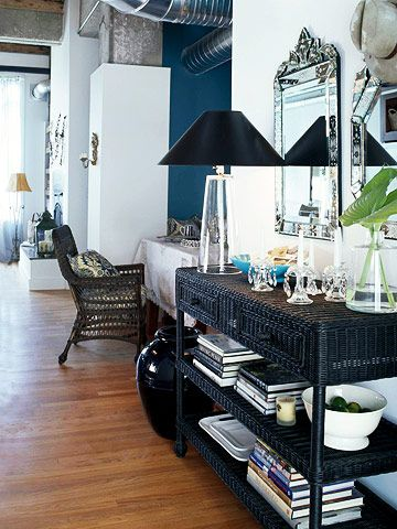 love the wicker painted black