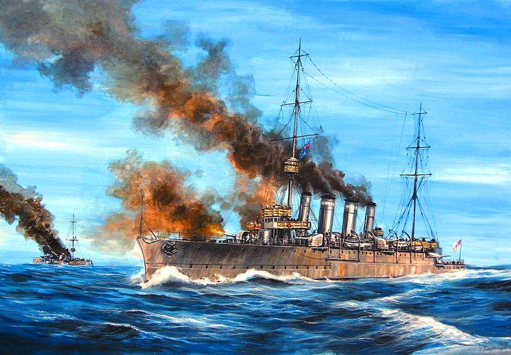 Al fondo el crucero alemán Emden I (1909) incendiado por el crucero australiano Sydney, en primer término de la imagen, en las Islas Cocos en 1914