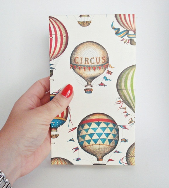 Coptic Stitch Handbound Blank Book Notebook or Ledger - Hot-Air Balloon Vintage Circus Print