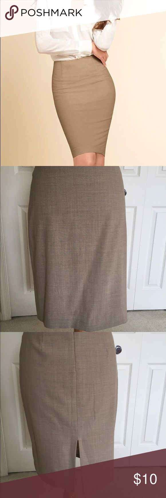 Body by Victoria beige pencil skirt This is a professional yet very sexy skirt great for the office and then out afterwards! It's beige body by Victoria- size 4 - 63% polyester, 33% viscose, 4% spandex. It falls right above the knee or just at the knee. It shows a bit of wear but is in good condition. Victoria's Secret Skirts Pencil