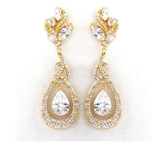 Check out Gold Bridal earrings, Wedding jewelry Crystal Wedding earrings Bridal jewelry, Lover's knot Drop earrings - Camila on wearableartz