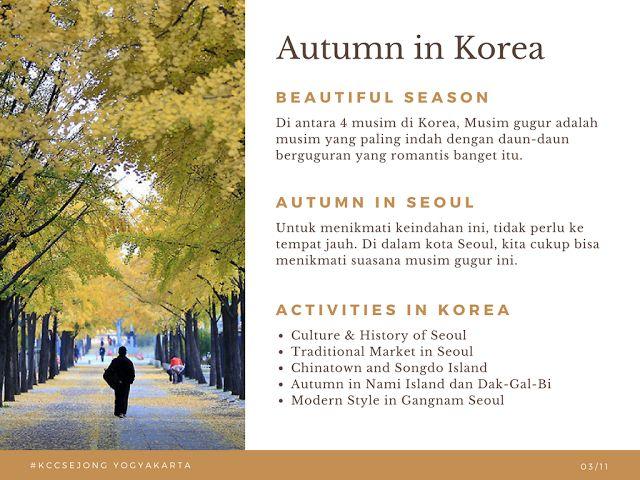 Liburan Korea - Autumn in Korea 23 Oktober 2017 KCC Sejong Jogja