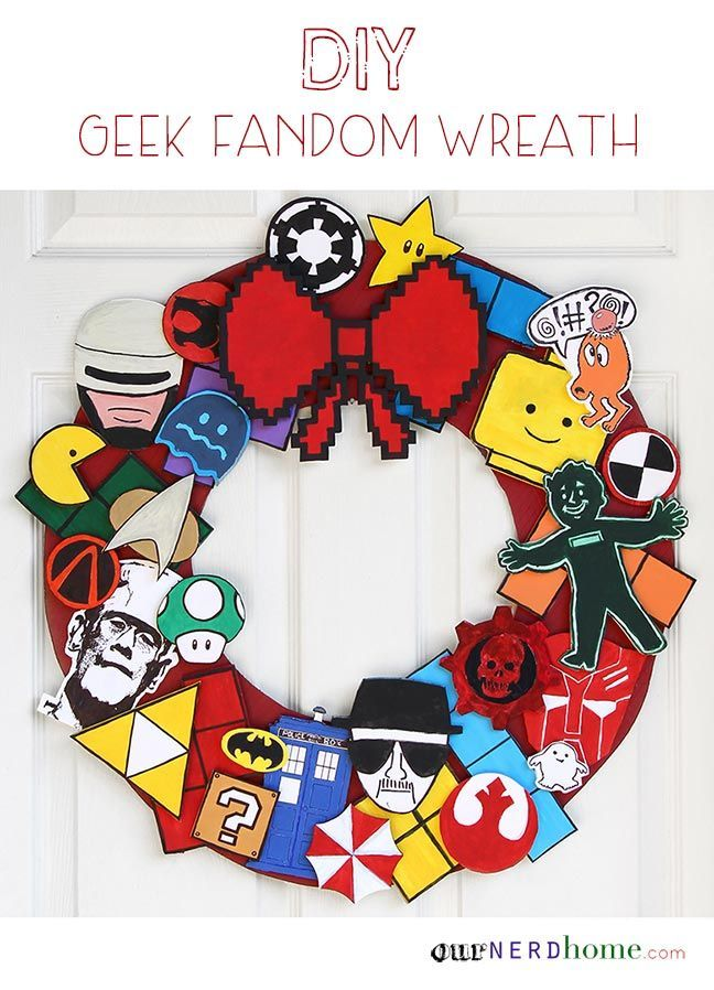 Nerdy Decor: DIY Geek Holiday Wreath! Doctor Who, Star Trek, 8-Bit, Star Wars, Transformers...