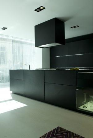 Modern sol blanc + cuisinier noire