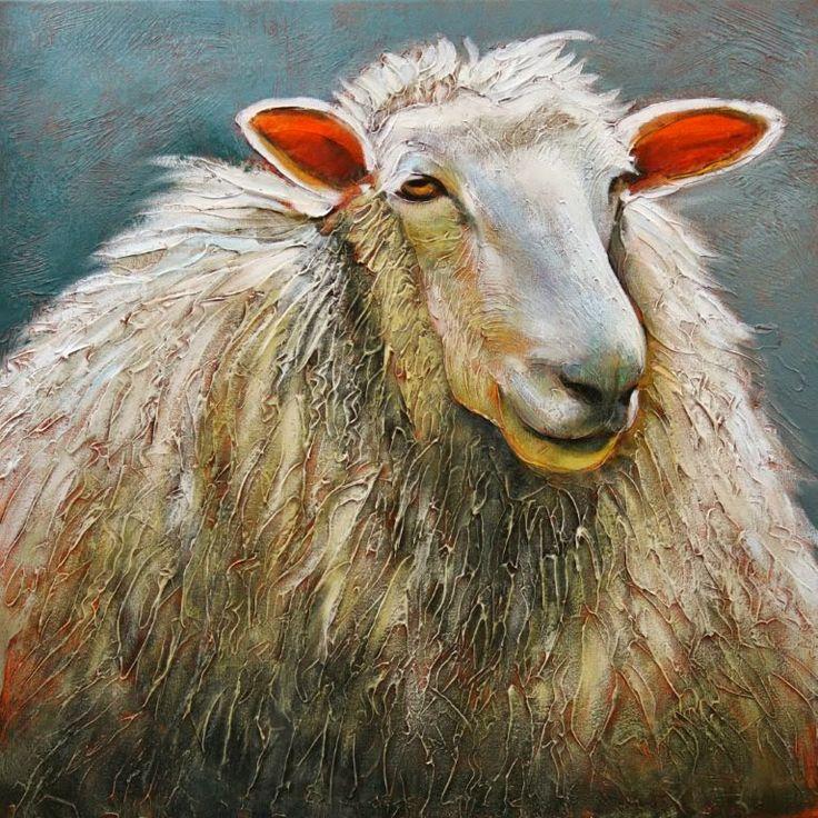 'Ewe Looking At Me' acrylic painting sheep Linda Wilder Creative Expressions http://www.bestlandscapepaintings.com/