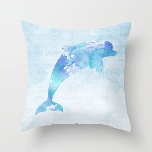 Dolphin Pillow Case Nautical Home Decor Beach by MiaoMiaoDesign, $32.00