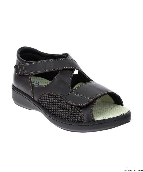 Womens Wide VELCRO® Brand Orthopedic Sandals - Adjustable Edema Diabetic Sandals - Brown