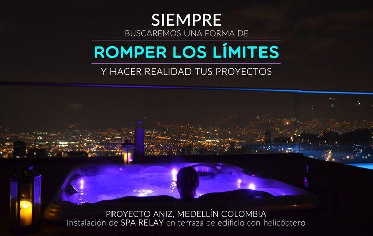 Proyecto Aniz, Medellín, Colombia. Instalación de SPA RELAY en terraza de edificio con helicoptero.