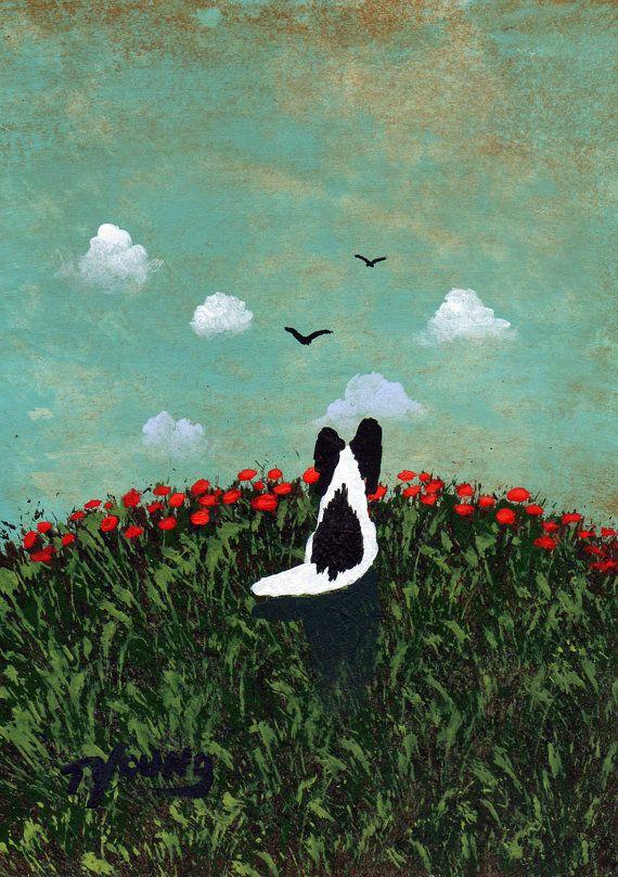 Black Papillon Dog art PRINT Todd Young painting by ToddYoungArt, $12.50