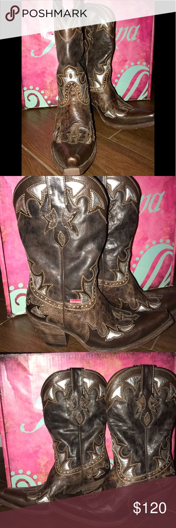 Artesana Rio Grande Cowboy boots🤠 Beautiful brown leather cowboy boots! Hand stitched with silver accents! Great for jeans, shorts or skirts!!! Worn 2 times for rodeo...Great condition Shoes