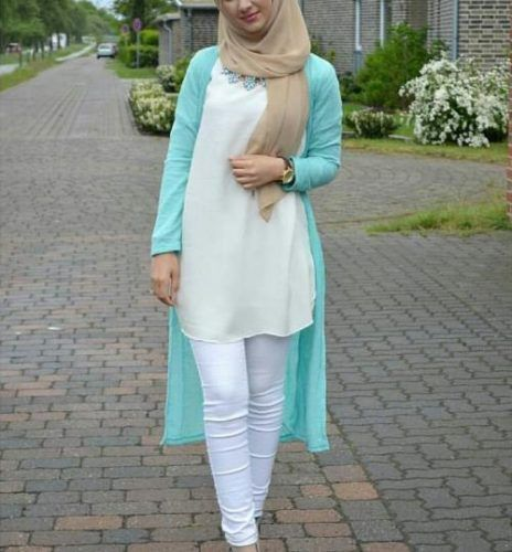 long cardigan in aqua color- Fashionista hijab trends http://www.justtrendygirls.com/fashionista-hijab-trends/