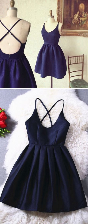 A-Line Spaghetti Straps Criss-Cross Straps Short Navy Blue Satin Homecoming Dress @veenrol criss- cross straps homecoming dresses, navy prom dresses, hot prom dresses