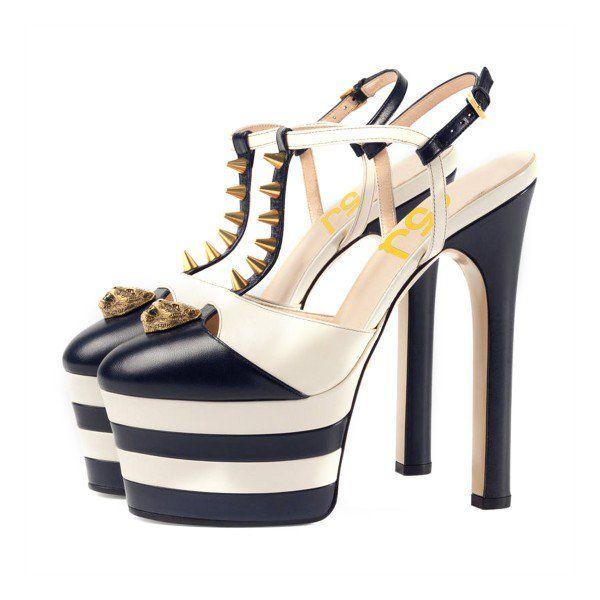 FSJ Sandal Shoes Platform Sandal Heels Women's Black and White Rivets T-Strap Platform Stiletto Slingback Shoes for Big day, Going out | FSJ