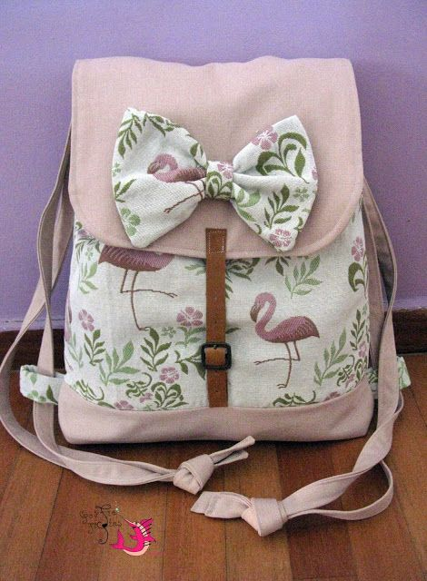 Handmade backpack  #handmade #backpack #flamingo #unique #fabric