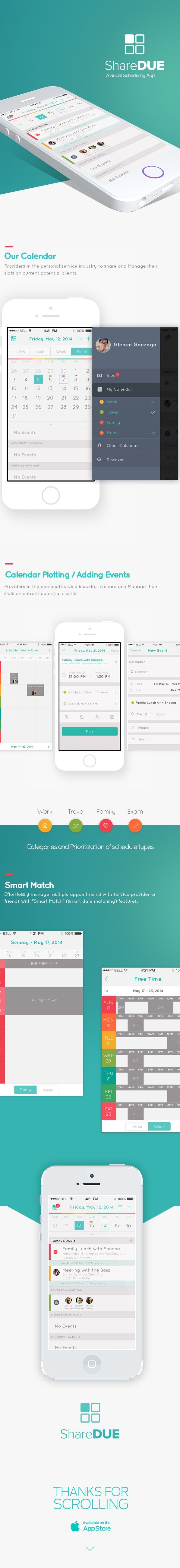 Share DUE your Social Scheduling App by Glemm Gonzaga, via Behance: