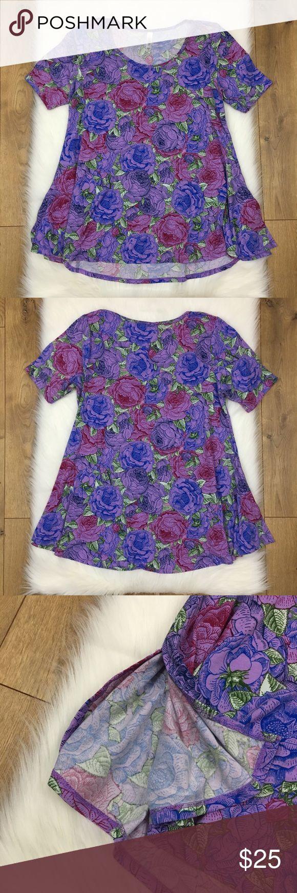 Lularoe Purple Rose Classic T Tunic Shirt Lularoe Purple Rose Classic T Tunic Shirt. In excellent used condition.  Women's Size Medium. LuLaRoe Tops Tees - Short Sleeve