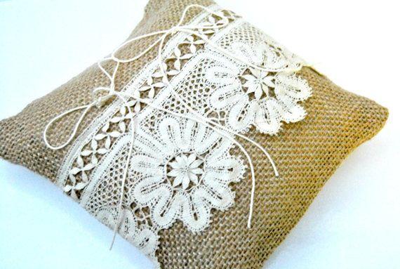 Burlap rustic chic wedding ring cushion by WhitePeonyCreations, £19.00