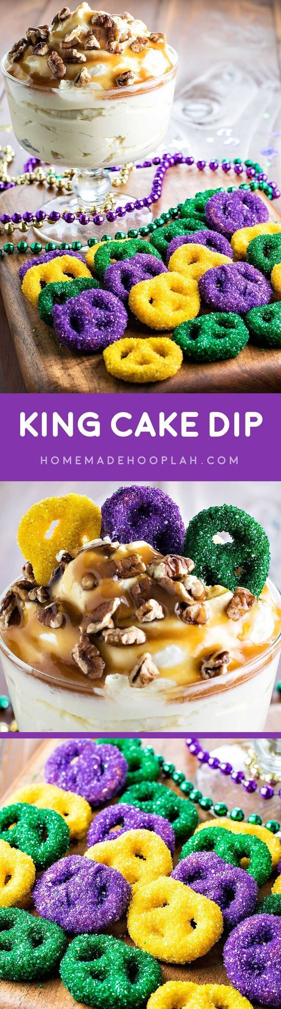 King Cake Dip! Enjoy this Mardi Gras favorite the easy way: cake batter dip topped with caramel and pecans, then served with candy and sprinkle dipped pretzels. | http://HomemadeHooplah.com