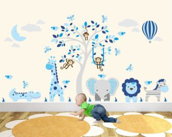 Jungle Animals Wall Stickers, Monkeys, Giraffe and Elephant around a tree mural. Hot Air Balloon & Moon. Blue and Grey nursery Decals.