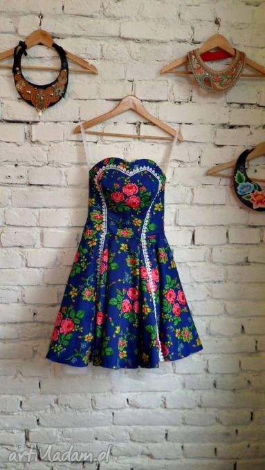 Folk design rock'n'roll niebieska zielony neon tiul sukienki