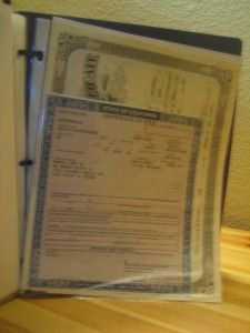 organization tip: scan important documents into Google docs, make sure the setting is private, then put in a clear sheet protector in a binder. Put them back to back to optimize space. All your documents are now within reach! We keep ours in a fireproof safe. Great for what to grab  in case of emergencies!