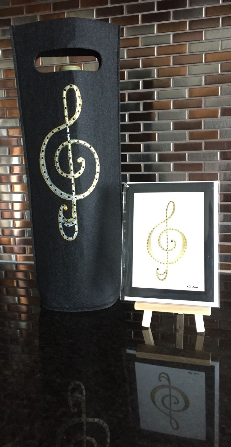 """""""You're Treble"""" Hand Painted Wine Bag & Greeting Card by Melody Germain of My """"Escape"""" Art Designs"""