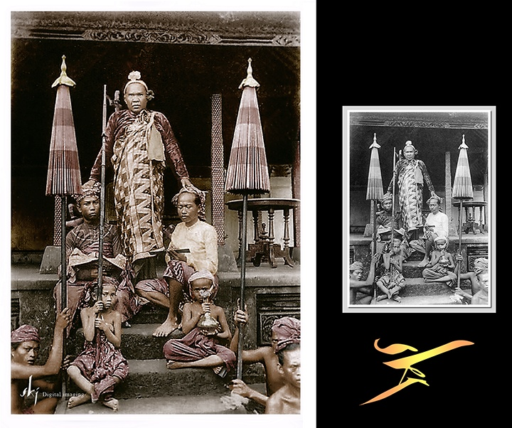 Dewa Manggis VIII, the Raja of Gianyar/Bali, with his district chiefs, ca 1900