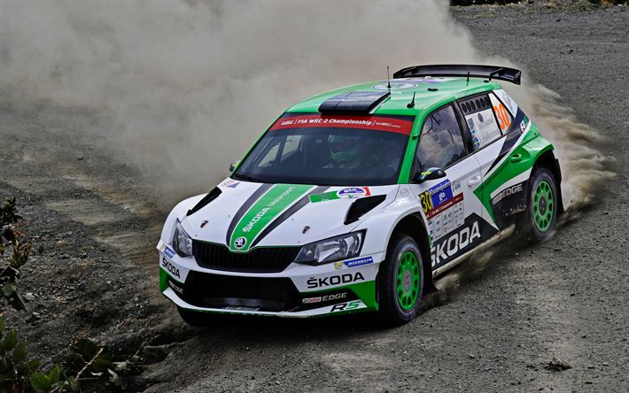 Download wallpapers Skoda Fabia R5, 2017, World Rally Championship-2, drift, racing car, rally, WRC-2, Pontus Tidemand, Jonas Andersson