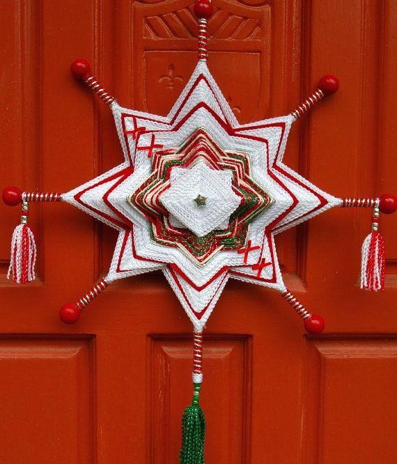 """18"""" mandala estrella tejida hilo arte - colgar de la pared del Ojo de Dios - estrella de Navidad"""