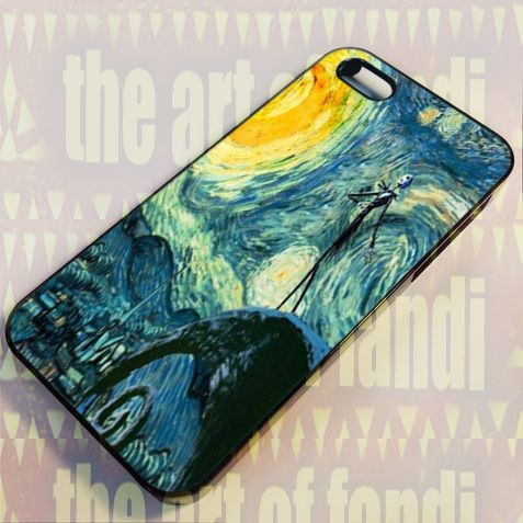 Starry Night Befor Christmas For iPhone 4 or 4s Black Rubber Case