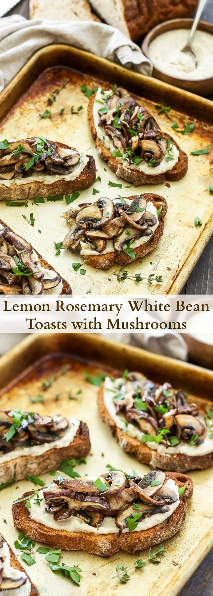 Lemon Rosemary White Bean Toasts with Mushrooms | Creamy white beans spread on whole grain toast and topped with sautéed mushrooms.
