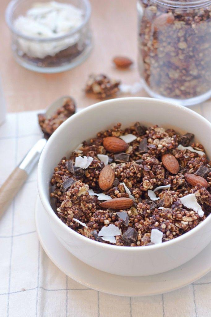 Granola au chocolat, amandes, noix de coco et quinoa soufflé {Sans gluten et à IG bas} - Quinoa,,Coconut and Almonds Chocolate Granola {Low IG - Gluten Free}