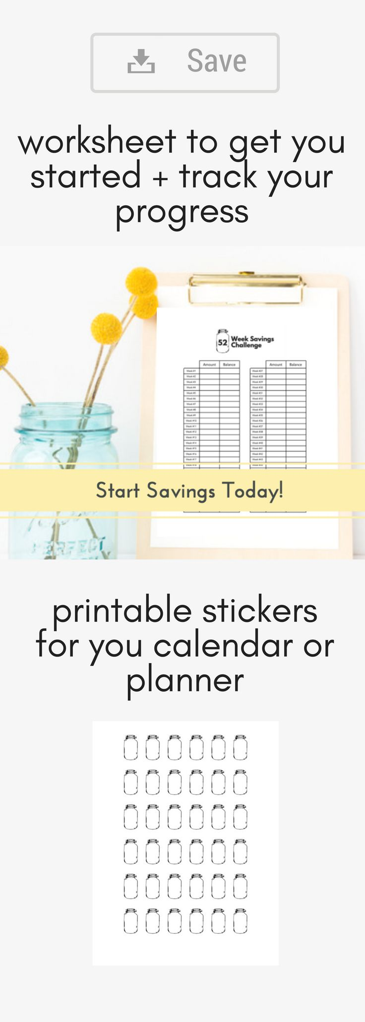 Post on your fridge, in your planner or family binder. Print as many as you'd like. Get the kids involved and have them cutting up the mason jar stickers to add to the family calendar to track your progress!! Whether you have a big savings goal, upcoming family vacation, or just want a fun way to track your progress this printable is just what you need. Or if you are following Dave Ramsey's baby steps, this would be a great way to incorporate the emergency fund goal!
