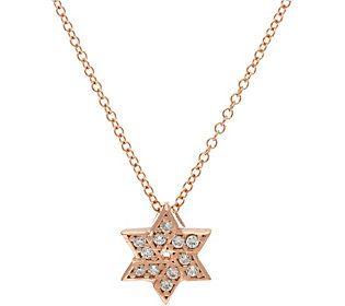 Diamonique Star of David Pendant w/ Chain, Sterling
