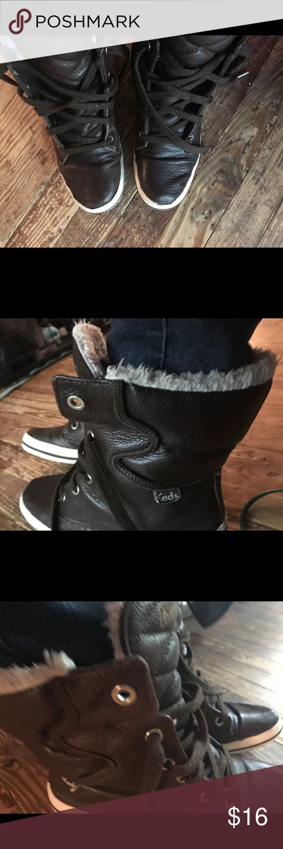 Winter ked leather boots Brown leather ked high top winter boots Keds Shoes Winter & Rain Boots