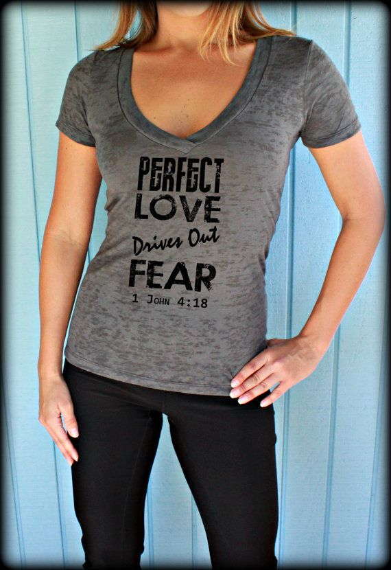Christian womens workout v neck t shirt perfect love for T shirts for gym workout