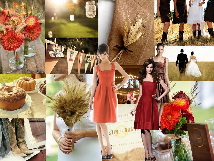 Chill of an Early Fall : PANTONE WEDDING Styleboard : The Dessy Group
