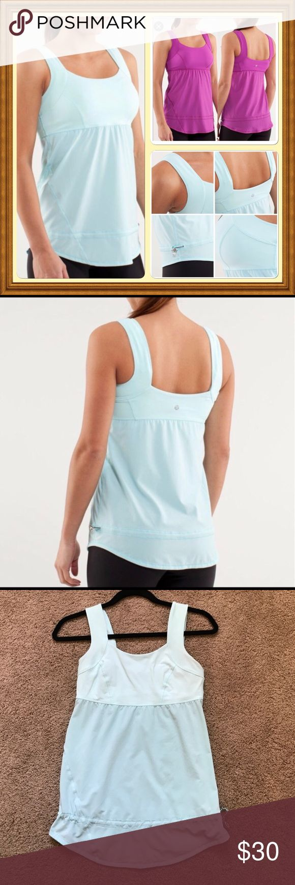 Bundle of 2 Lululemon Chase me Tanks Beautiful magenta and sea-foam colors!  Excellent condition- drawstring bottom so hides the stomach. Layer over your favorite sports bra. Open back shows strappy sports bras really well! lululemon athletica Tops Tank Tops