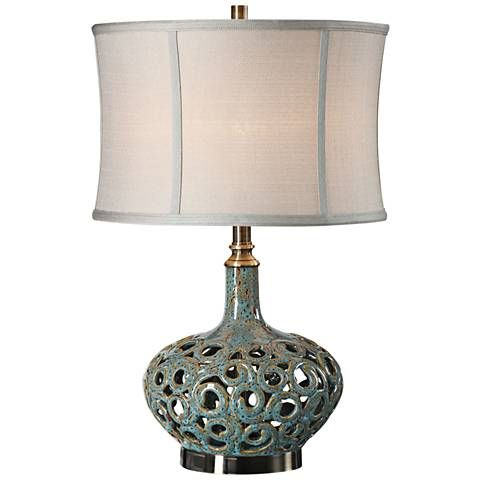 Uttermost Volu Gray and Blue Ceramic Table Lamp - #32P55 | Lamps Plus