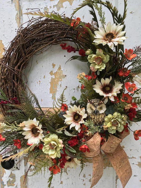 Fall Wreath Autumn Wreath Owl Wreath Rustic Wreath Front