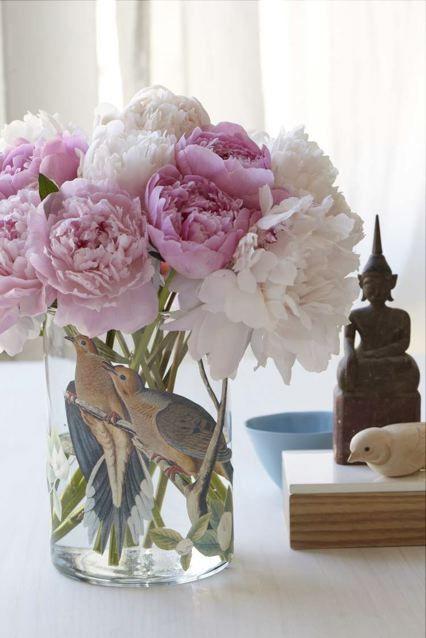 Decoupage Bird Vase