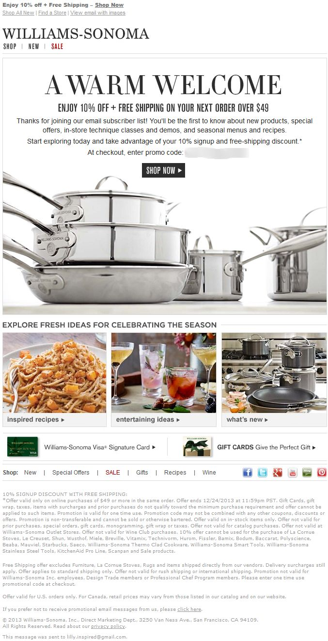Williams sonoma discount coupon