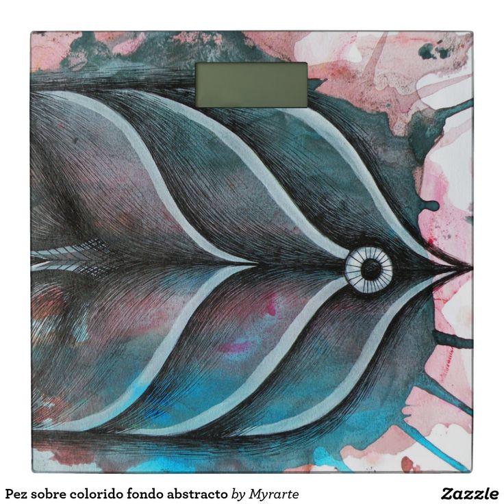 Pez sobre colorido fondo abstracto. Producto disponible en tienda Zazzle. Decoración para el hogar. Product available in Zazzle store. Home decoration. Regalos, Gifts. Link to product: http://www.zazzle.com/abstracto_del_fondo_del_colorido_del_sobre_de_pez_bascula-256309046445523928?lang=es&CMPN=shareicon&social=true&rf=238167879144476949 #báscula #scale #pez #fish