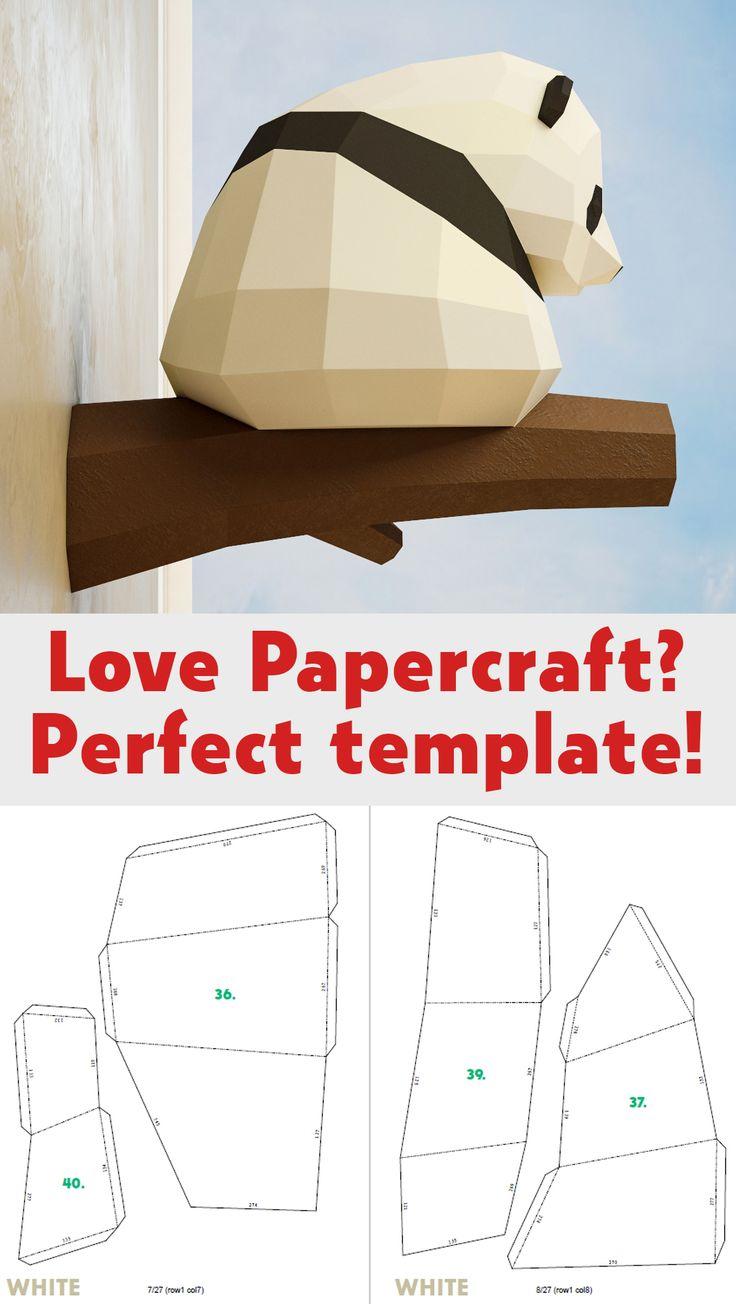 Papercraft Little Panda, DIY Paper craft, 3D template PDF equipment, make your personal low poly child panda, origami pepakura, house decor concept, statue