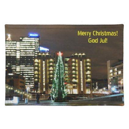 Christmas in Oslo Norway Cloth Placemat - Xmas ChristmasEve Christmas Eve Christmas merry xmas family kids gifts holidays Santa