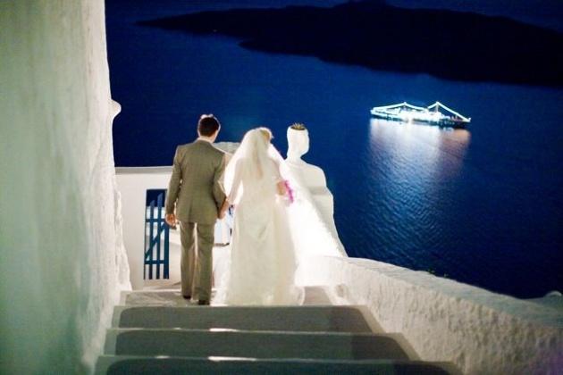 Real wedding in Fira, Santorini