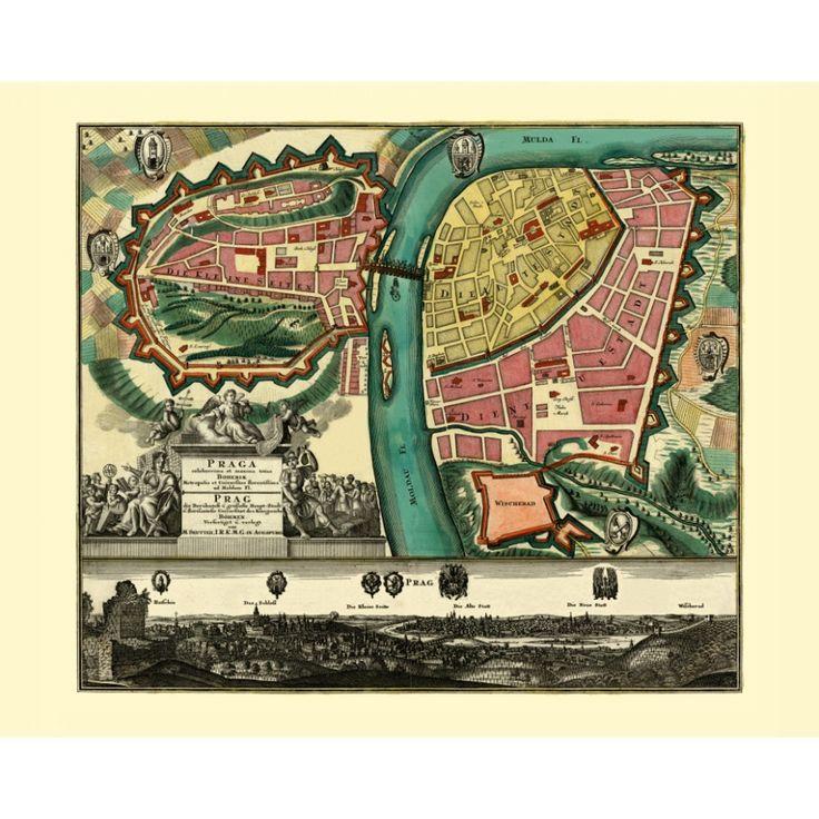 Vintage map of Prague - a handmade paper print.  #map, #antiquemap, #vintagemap, #oldmap #historicalmap, #mapreproduction #mapreproductions #oldmaps, #vintagemaps, #antiquemaps, #historicalmaps #handmadepaper #maps, #prague, #prag, #praha, #praga, #mapdecor, #traveldecor #walldecor, #mapgifts