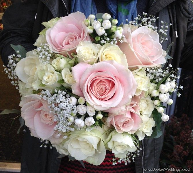 This beautiful bridal bouquet would work for any season. Blush rose and ivory rose with gypsophila bride's bouquet. | Booker Weddings are based in Liverpool, Merseyside and would be happy to quote for Weddings in Liverpool and surrounding areas. We are Wedding Flower specialists and have been specially selected to be one of Interflora's Vera Wang Wedding Florists.