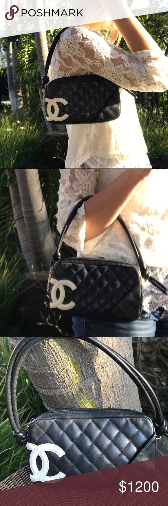 Authentic Black Chanel Ligne Cambon Pochette ❤Sale Gorgeous 2005 Collection Chanel bag for an evening out or lunch on the town!! Beautiful white logo on black! Lingne Cambone Bowler Shoulder Bag! Quilted Leather quality and perfect! Hot pink interior, considered red! Interior needs a little  cleaning! 👌🏼9.5x6x 1.5 inches CHANEL Bags Clutches & Wristlets